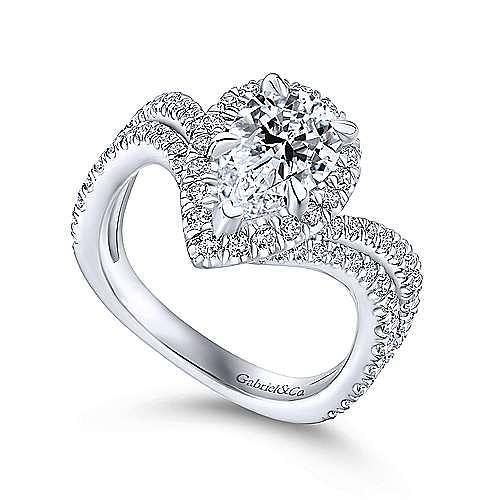 Madeleine 18k White Gold Pear Shape Halo Engagement Ring angle 3