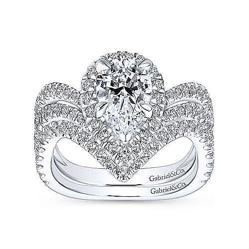 Madeleine 18k White Gold Pear Shape Halo Engagement Ring angle 4