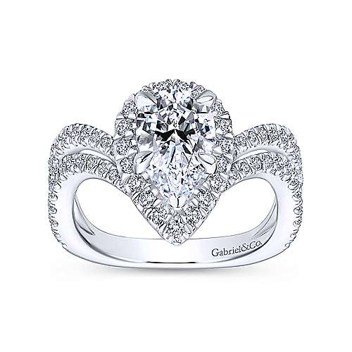 Madeleine 18k White Gold Pear Shape Halo Engagement Ring angle 5