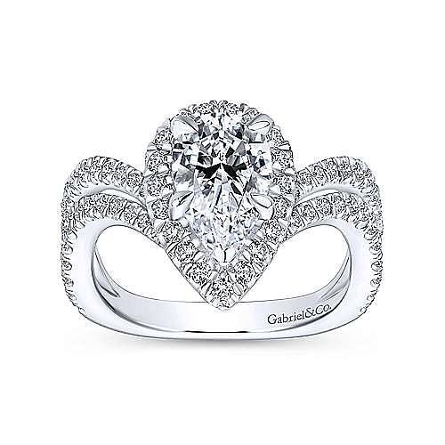 Madeleine 18k White Gold Pear Shape Halo Engagement Ring angle 5