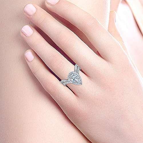Madeleine 18k White Gold Pear Shape Halo Engagement Ring angle 6