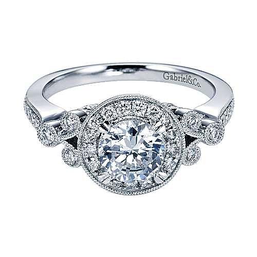Madison 14k White Gold Round Halo Engagement Ring angle 1
