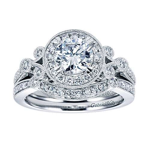 Madison 14k White Gold Round Halo Engagement Ring angle 4