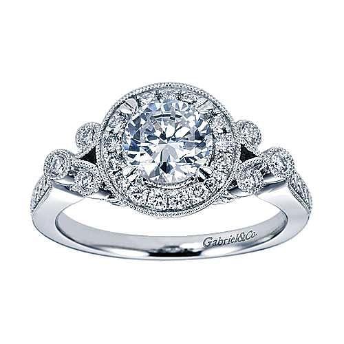 Madison 14k White Gold Round Halo Engagement Ring angle 5