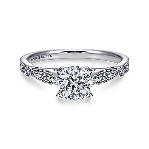 Gabriel - Mae 14k White Gold Round Straight Engagement Ring