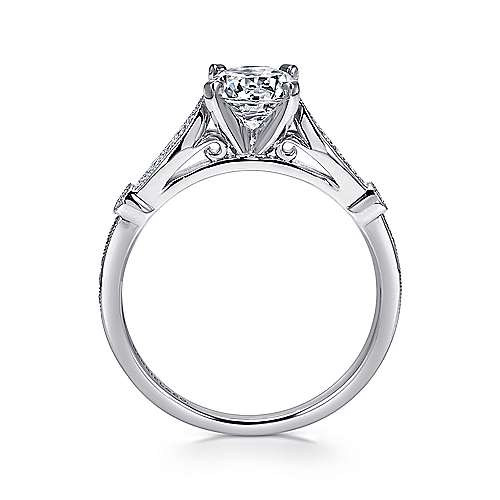Mae 14k White Gold Round Straight Engagement Ring angle 2