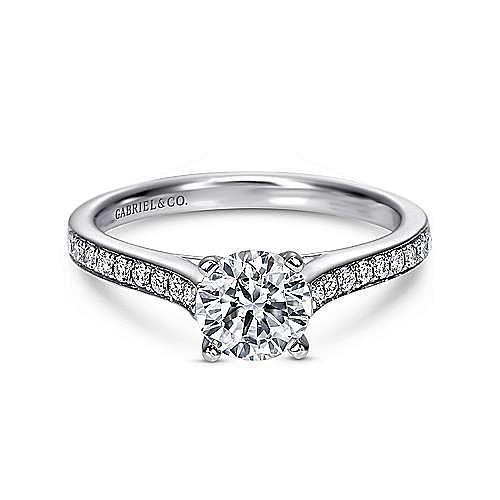 Gabriel - Maelin 14k White Gold Round Straight Engagement Ring