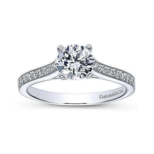 Maelin 14k White Gold Round Straight Engagement Ring angle 5