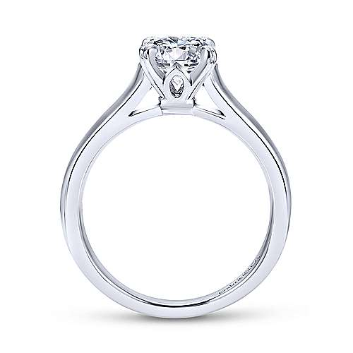 Maeve 14k White Gold Round Solitaire Engagement Ring angle 2