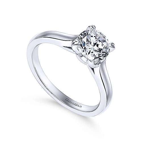 Maeve 14k White Gold Round Solitaire Engagement Ring angle 3
