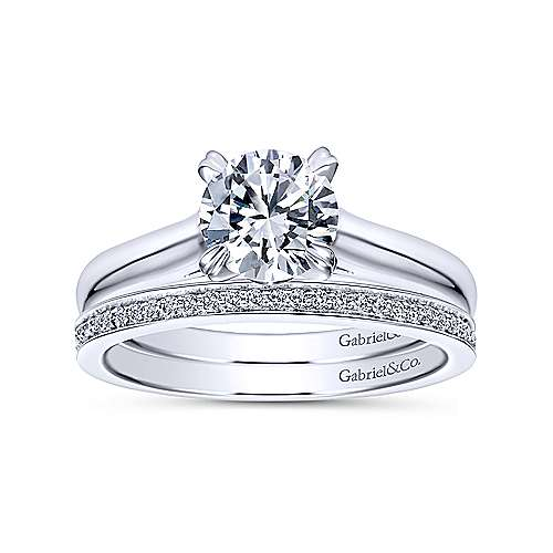 Maeve 14k White Gold Round Solitaire Engagement Ring angle 4