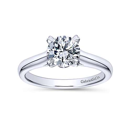 Maeve 14k White Gold Round Solitaire Engagement Ring angle 5