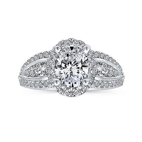Magnolia 14k White Gold Oval Halo Engagement Ring angle 5