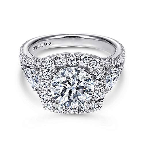 Gabriel - Maia 18k White Gold Round Halo Engagement Ring