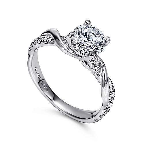 Maisie 18k White Gold Round Twisted Engagement Ring angle 3