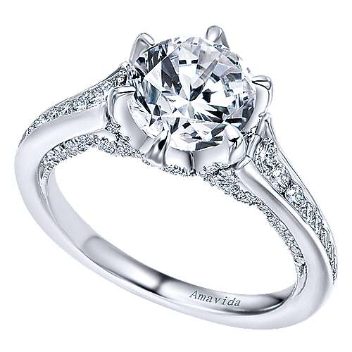 Maisy 18k White Gold Round Straight Engagement Ring