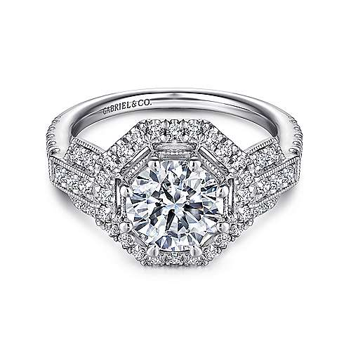 Gabriel - Majid 18k White Gold Round Halo Engagement Ring