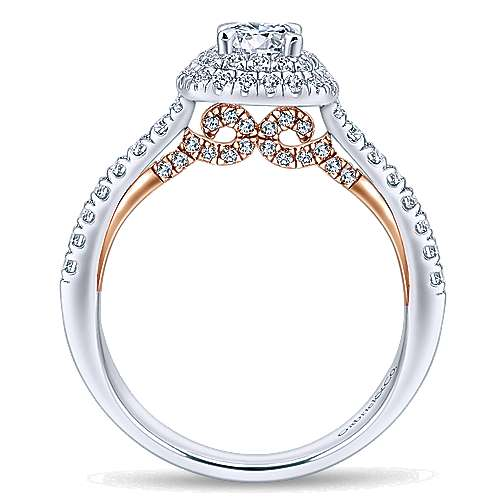 Malibu 14k White And Rose Gold Round Double Halo Engagement Ring angle 2