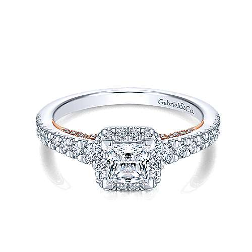 Gabriel - Mallory 14k White And Rose Gold Princess Cut Halo Engagement Ring