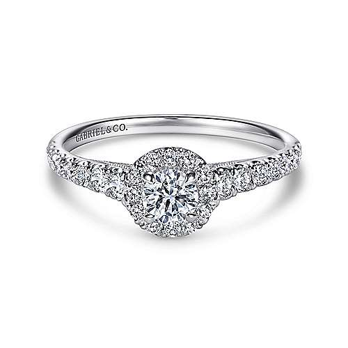 Gabriel - Malta 14k White Gold Round Halo Engagement Ring