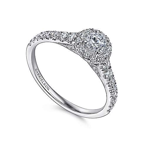 Malta 14k White Gold Round Halo Engagement Ring angle 3