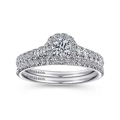 Malta 14k White Gold Round Halo Engagement Ring angle 4