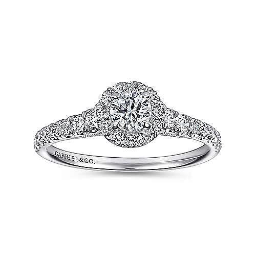 Malta 14k White Gold Round Halo Engagement Ring angle 5