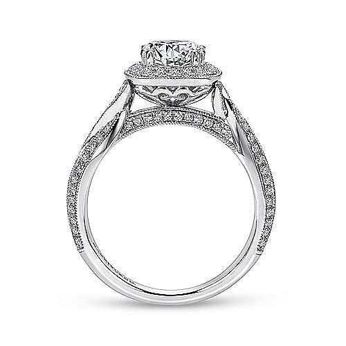 Mamba 18k White Gold Round Halo Engagement Ring angle 2