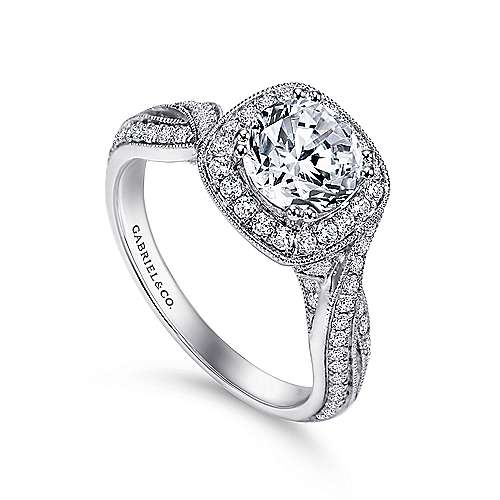 Mamba 18k White Gold Round Halo Engagement Ring angle 3