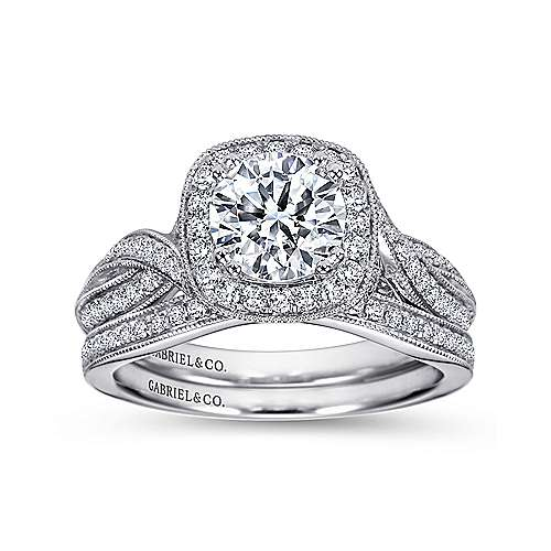 Mamba 18k White Gold Round Halo Engagement Ring angle 4