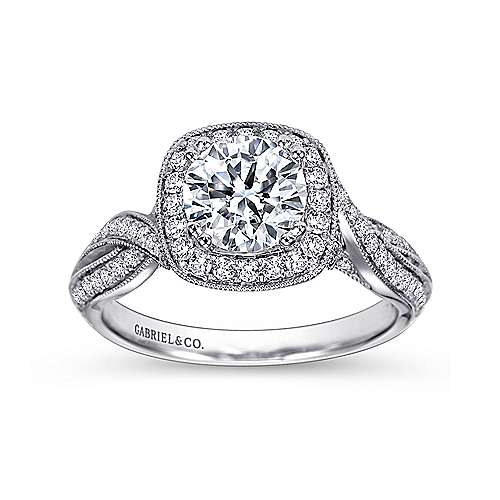 Mamba 18k White Gold Round Halo Engagement Ring angle 5