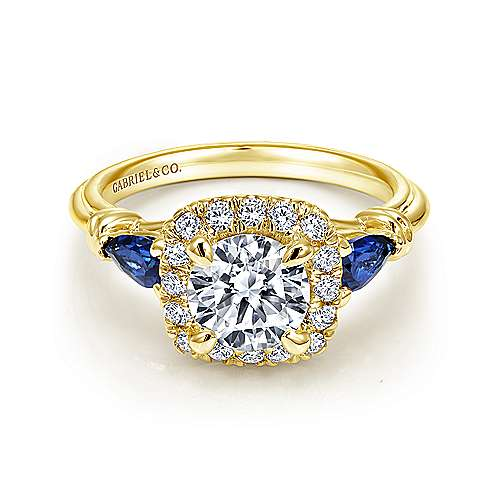 Mara 18k Yellow Gold Round Halo Engagement Ring angle 1