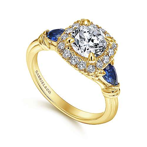 Mara 18k Yellow Gold Round Halo Engagement Ring angle 3