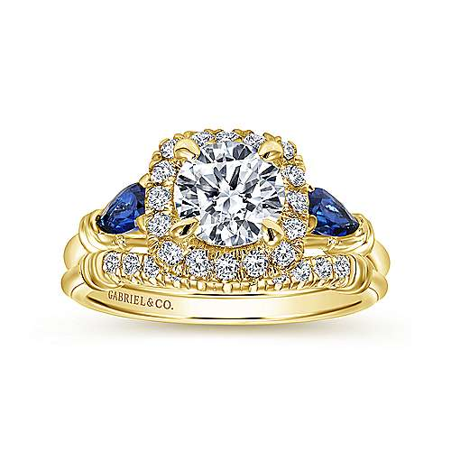 Mara 18k Yellow Gold Round Halo Engagement Ring angle 4