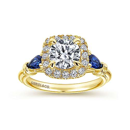 Mara 18k Yellow Gold Round Halo Engagement Ring angle 5