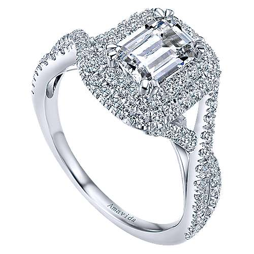Marcella 18k White Gold Emerald Cut Double Halo Engagement Ring angle 3