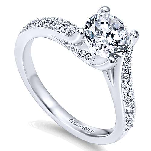 Marcy 14k White Gold Round Bypass Engagement Ring angle 3