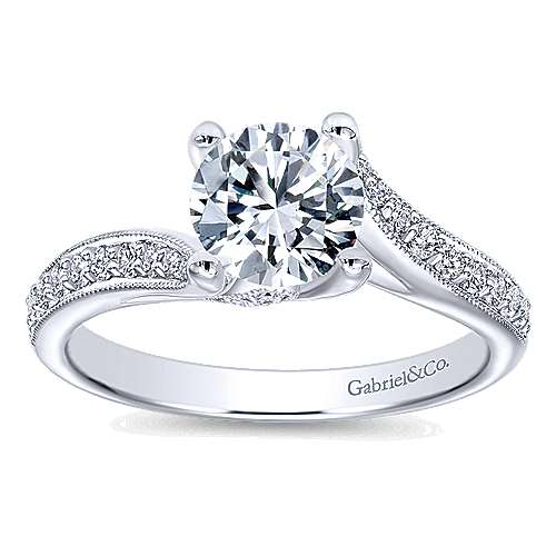 Marcy 14k White Gold Round Bypass Engagement Ring angle 5