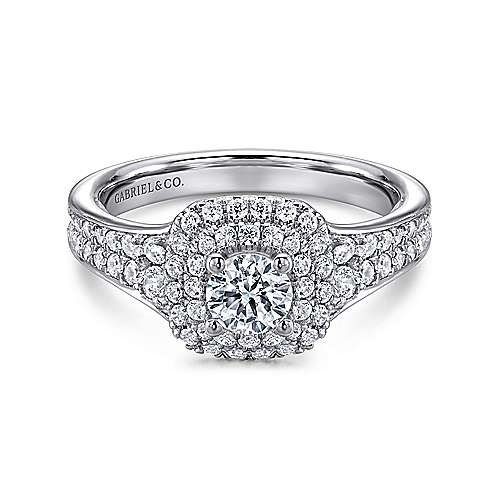Maren 14k White Gold Round Double Halo Engagement Ring angle 1