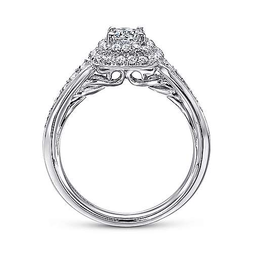 Maren 14k White Gold Round Double Halo Engagement Ring angle 2