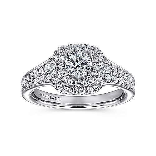 Maren 14k White Gold Round Double Halo Engagement Ring angle 5