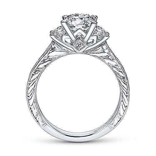 Margaret 14k White Gold Princess Cut 3 Stones Engagement Ring angle 2