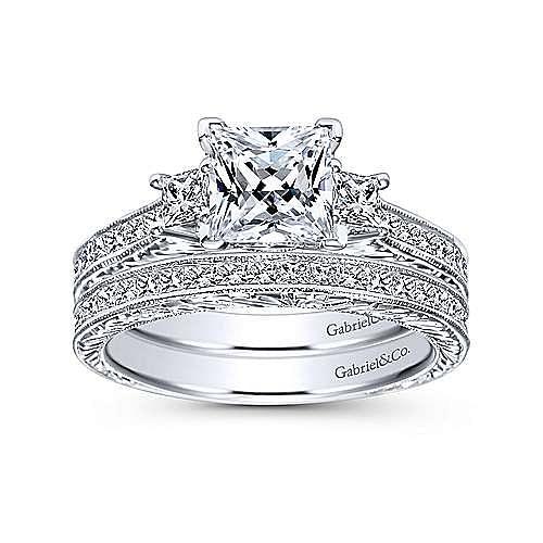 Margaret 14k White Gold Princess Cut 3 Stones Engagement Ring angle 4