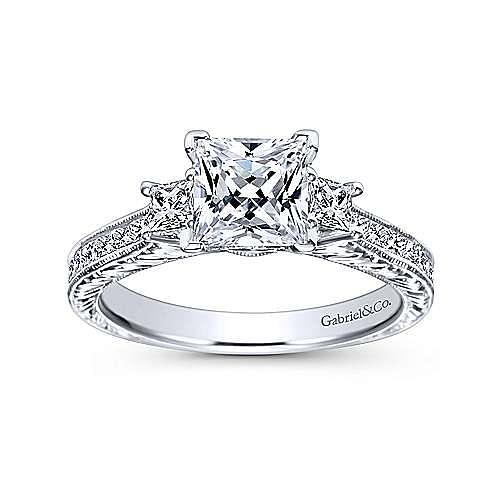 Margaret 14k White Gold Princess Cut 3 Stones Engagement Ring angle 5