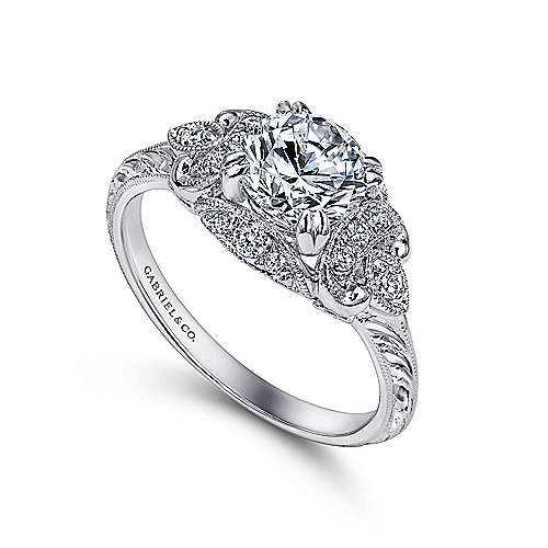 Margarita Platinum Round Halo Engagement Ring angle 3