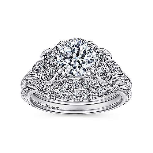 Margarita Platinum Round Halo Engagement Ring angle 4