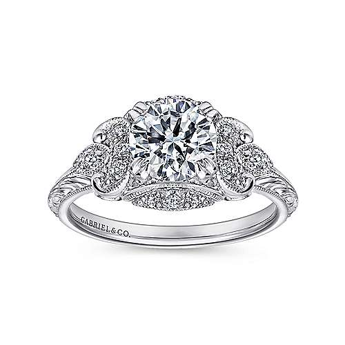 Margarita Platinum Round Halo Engagement Ring angle 5