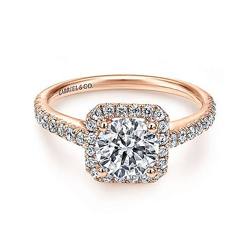 Margot 14k Rose Gold Round Halo Engagement Ring angle 1
