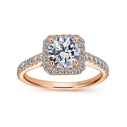 Margot 14k Rose Gold Round Halo Engagement Ring angle 5