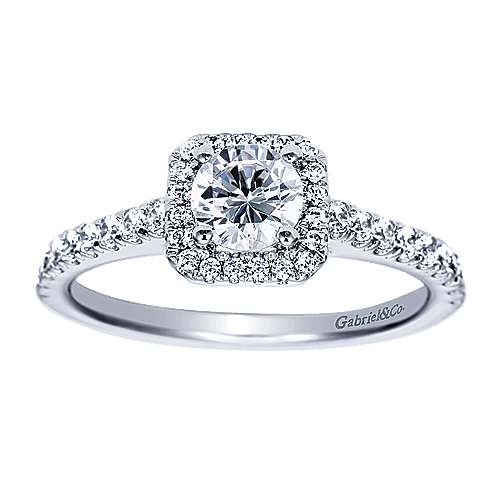 Gabriel - Margot 14k White Gold Round Halo Engagement Ring
